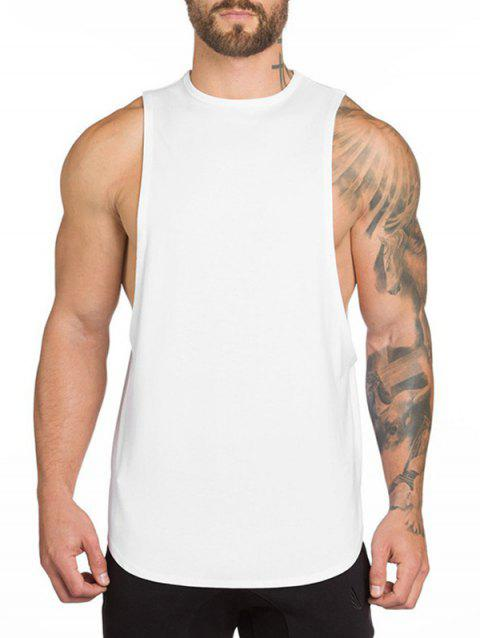 High Low Slit Solid Color Casual Tank Top - WHITE M