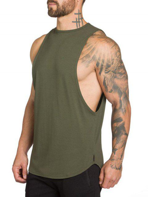 High Low Slit Solid Color Casual Tank Top - ARMY GREEN L
