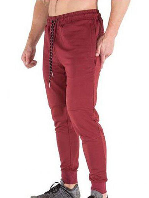 Solid Color Casual Drawstring Jogger Pants - CHESTNUT RED XS