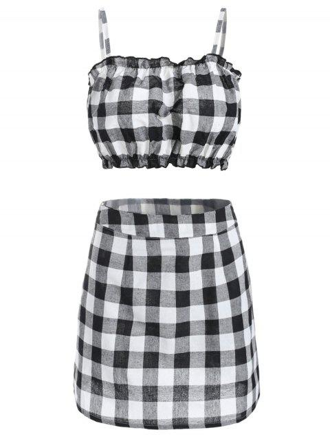 Frill Hem Plaid Crop Top with Mini Skirt - multicolor S