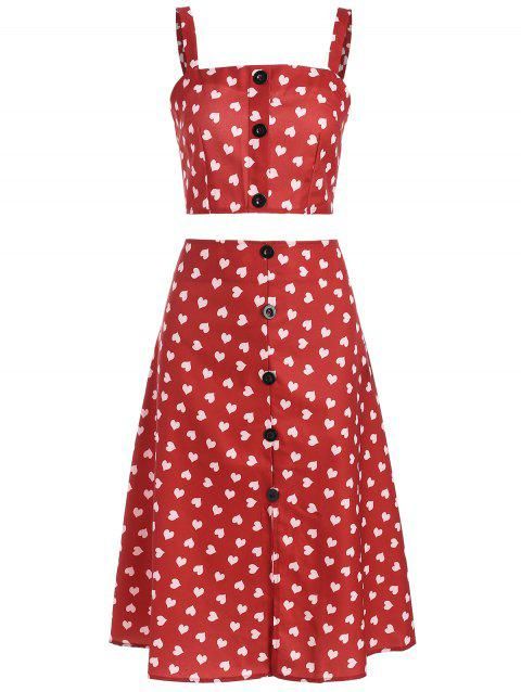 Heart Print Cami Top and Midi Skirt - CHERRY RED S