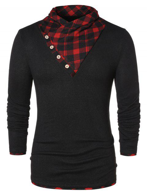 Button Shawl Collar Checked Panel T-shirt - BLACK XL