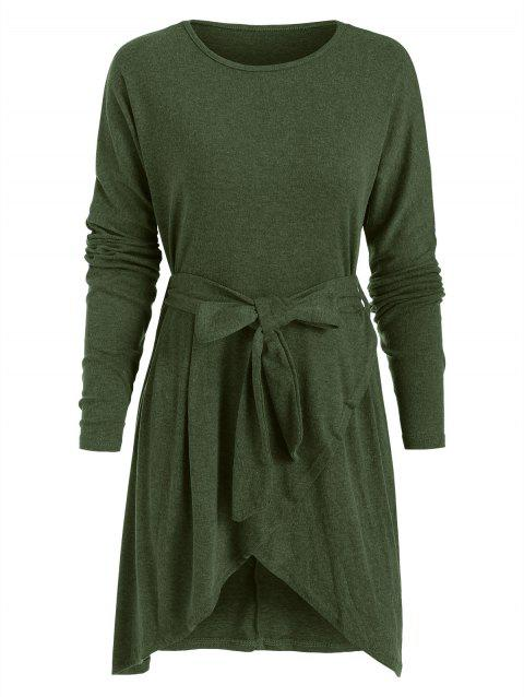 Belted Mini Tulip Dress - ARMY GREEN S