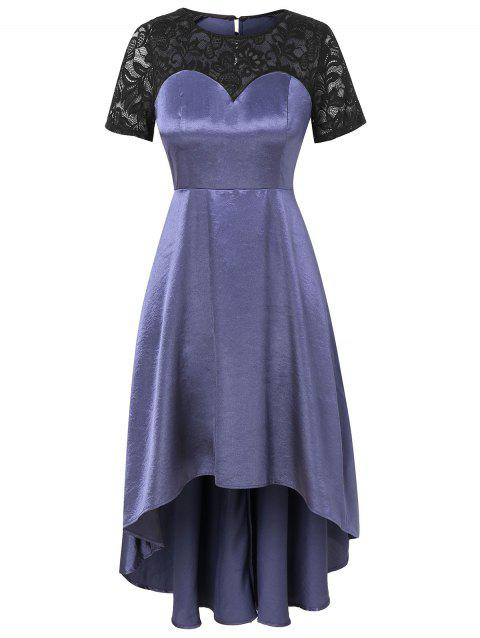 Plus Size Lace Insert Dip Hem Dress - SLATE BLUE 3X