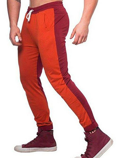 Contrast Color Drawstring Long Jogger Pants - CHESTNUT RED S
