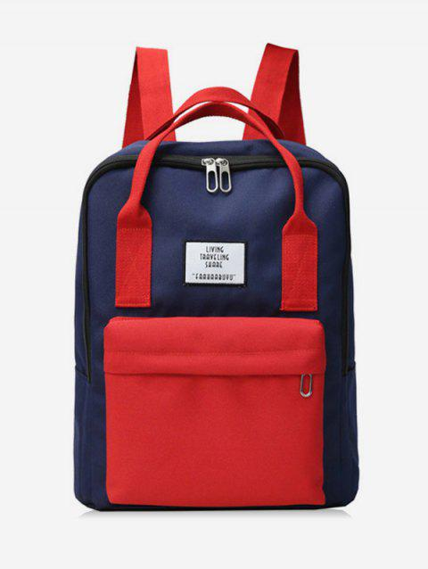 Waterproof Contract Color Backpack - LAVA RED