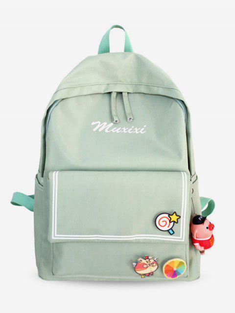 Letter Printed Striped Backpack - AQUAMARINE