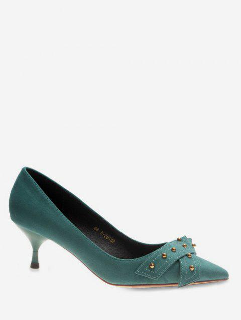 Knot Strap Pointed Toe High Heel Pumps - GREEN EU 38