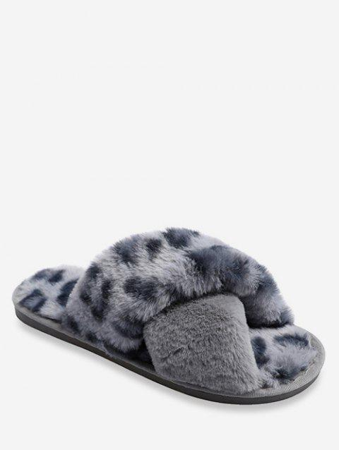 Leopard Pattern Crisscross Fuzzy Slippers - GRAY EU 37