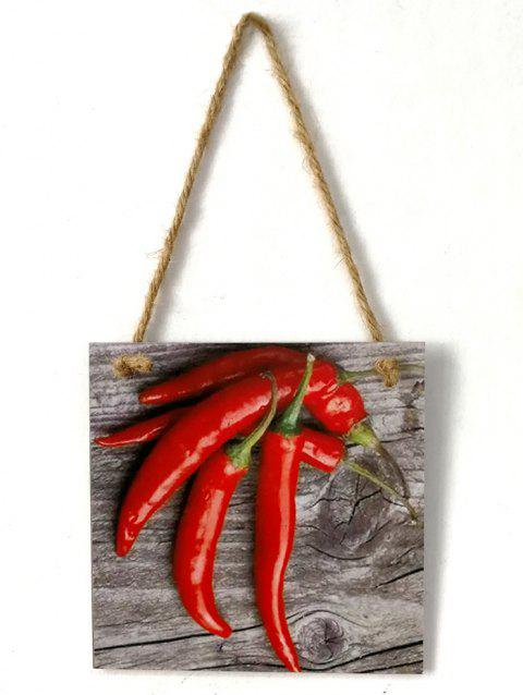 Peppers Pattern Wooden Hanging Sign - multicolor