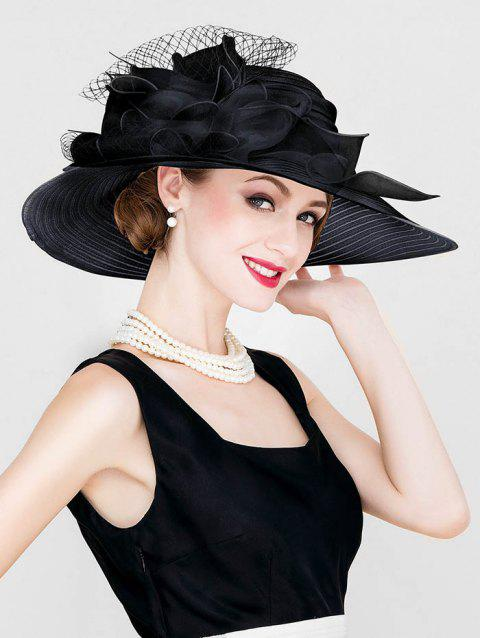 Ribbon Floral Wide Brim Church Hat - BLACK
