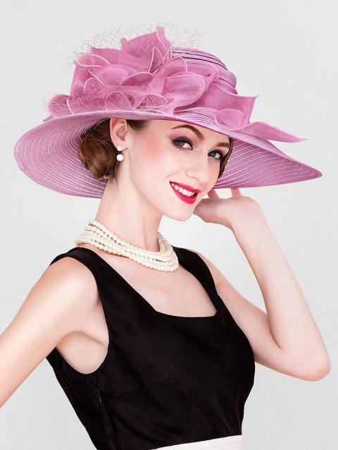 Ribbon Floral Wide Brim Church Hat - PINK