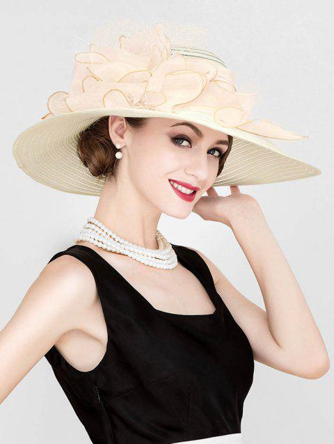 Ribbon Floral Wide Brim Church Hat - CHAMPAGNE