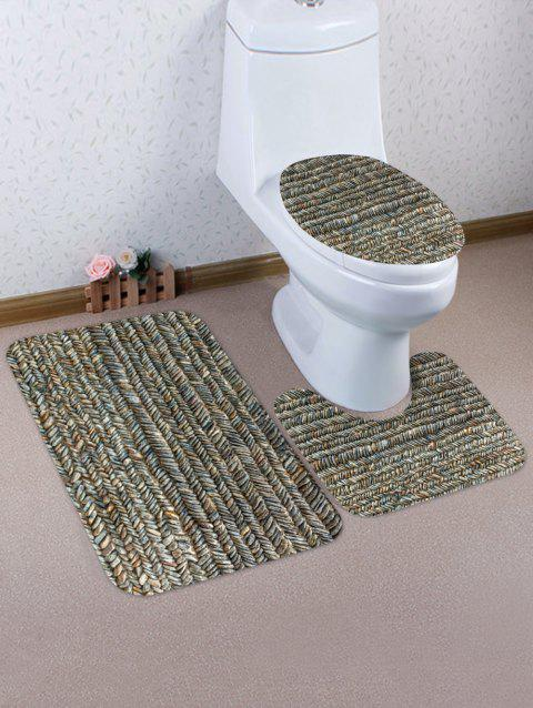 Stone Road Printed 3 Pcs Bathroom Toilet Mat - GOLDENROD