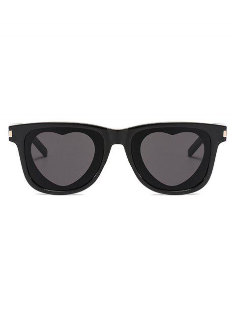 Heart Shape Square Frame Sunglasses - BLACK