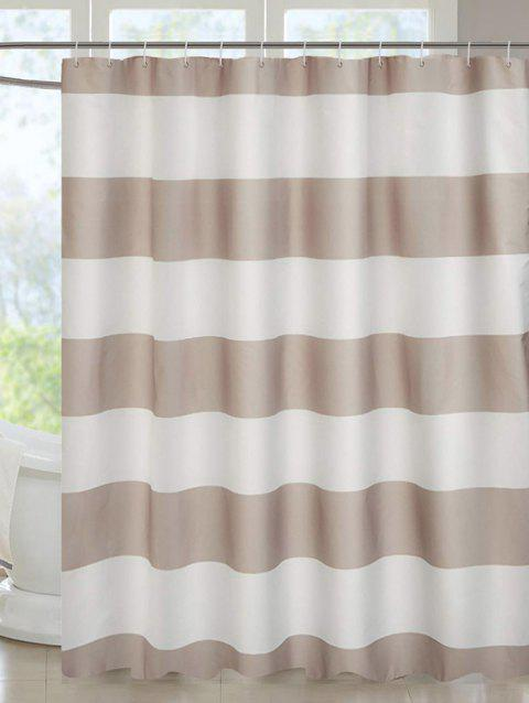 Striped Print Waterproof Shower Curtain - WHITE W71 X L71 INCH