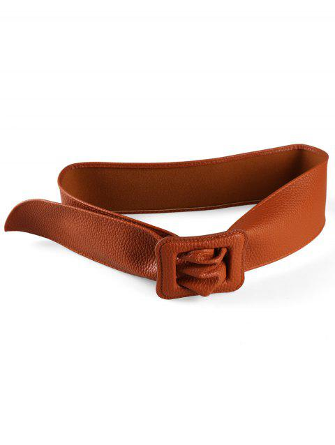 PU Leather Square Buckle Wide Belt - CAMEL BROWN