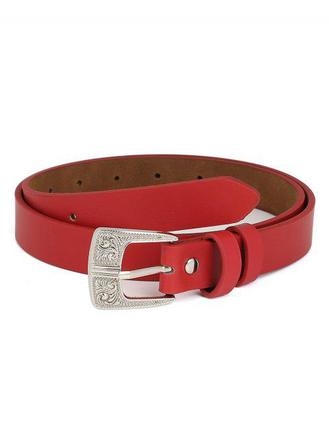 PU Leather Carving Pin Buckle Waist Belt - RED