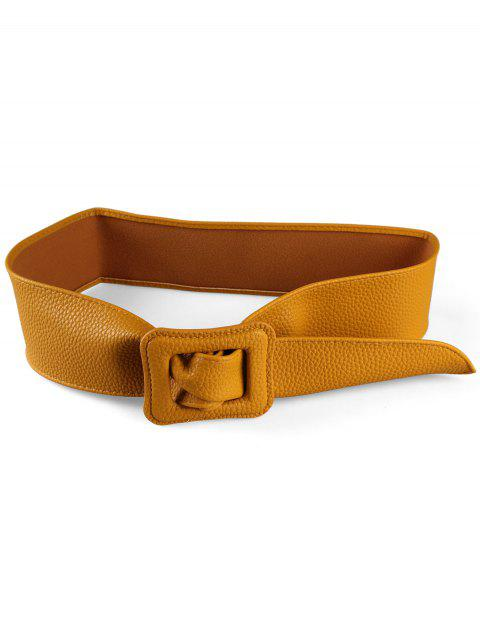 PU Leather Square Buckle Wide Belt - YELLOW