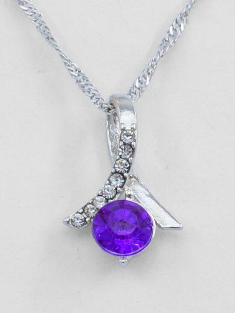 Rhinestone Decoration Drop Necklace - PURPLE
