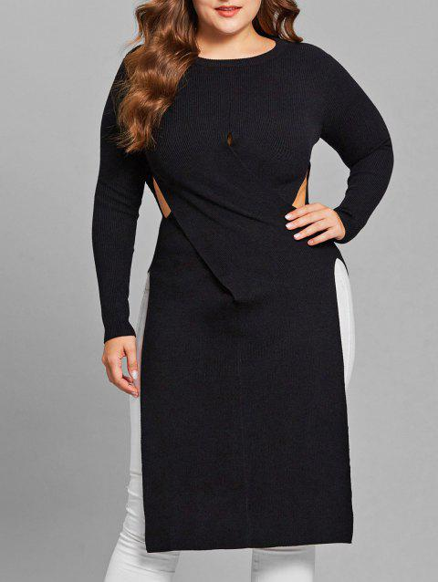 Plus Size Side Slit Cut Out Sweater - BLACK 1X