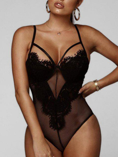 Lace Panel See Through Teddy - BLACK S