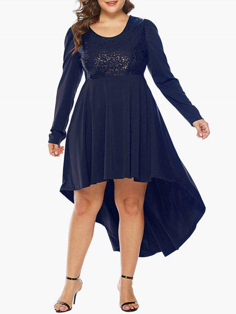 Plus Size Sequin Embellished High Low Party Dress - CADETBLUE 2X