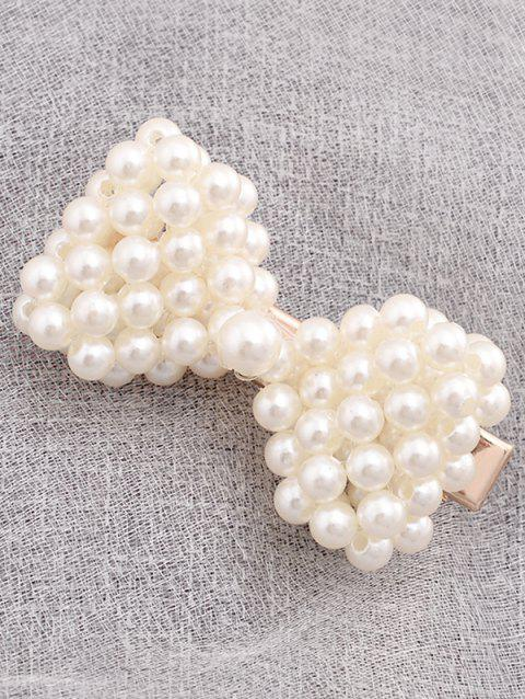 Faux Pearl Bowknot Shape Hairpin - WHITE