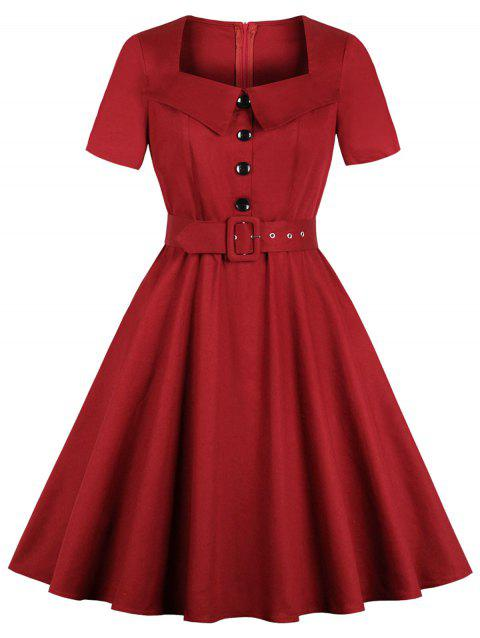 Vintage Buttons Fit and Flare Dress - RED WINE XL