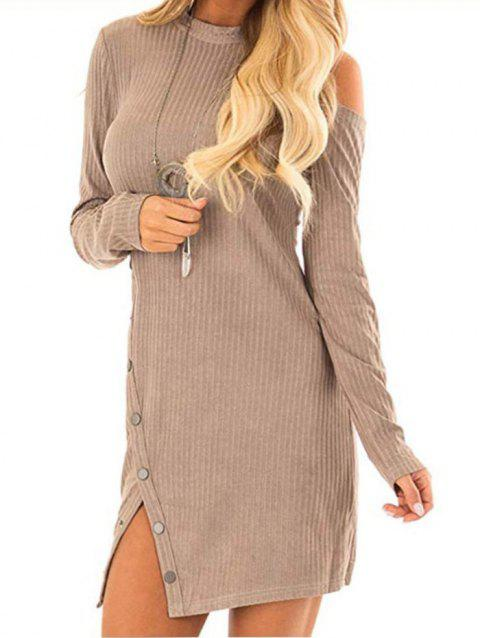 Knit Cold Shoulder Snap Button Mini Dress - KHAKI M
