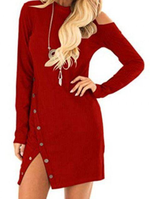 Knit Cold Shoulder Snap Button Mini Dress - RED S