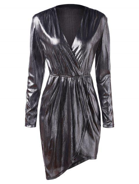 Plunging Neck Long Sleeves Metallic Party Dress - SILVER M