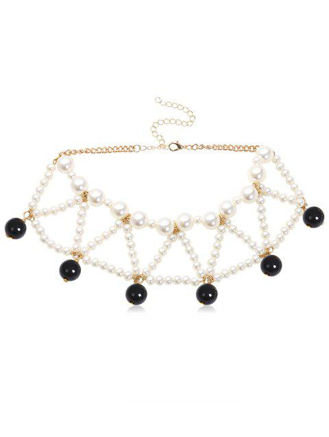 Faux Pearl Beading Geometric Necklace - BLACK