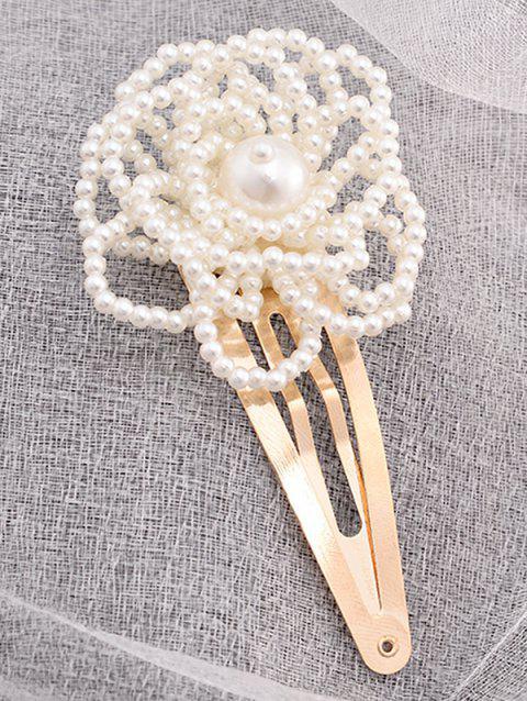 Faux Pearl Floral Hairpin - WHITE