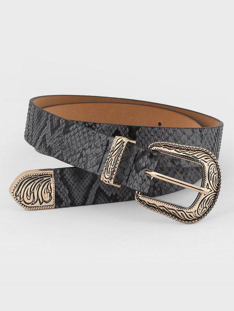 Retro Carved Buckle Faux Leather Belt - GRAY