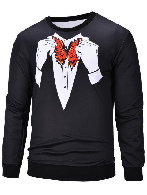 3D Butterfly Printed Crew Neck Pullover Sweatshirt