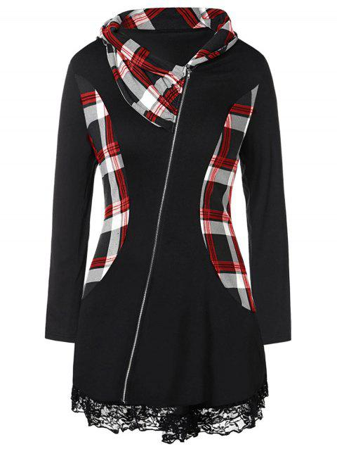 Plus Size Lace Insert Plaid Splicing Zip Fly Coat - RED 1X