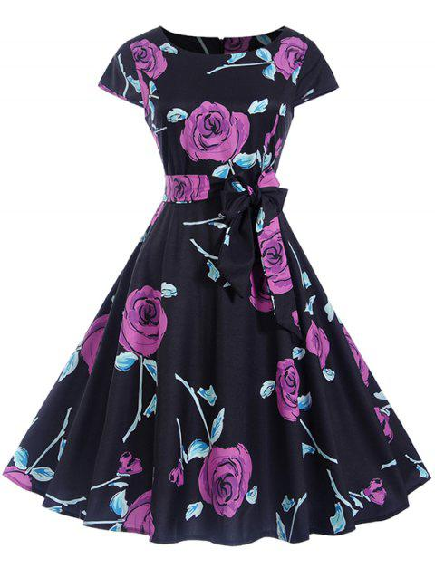 Retro Floral Print Belt Pin Up Dress - PURPLE 2XL