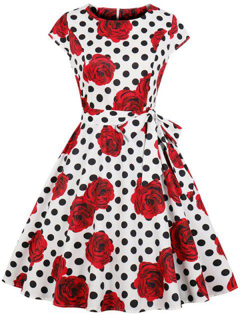 Vintage Dotted Floral Print Flare Dress - WHITE XL