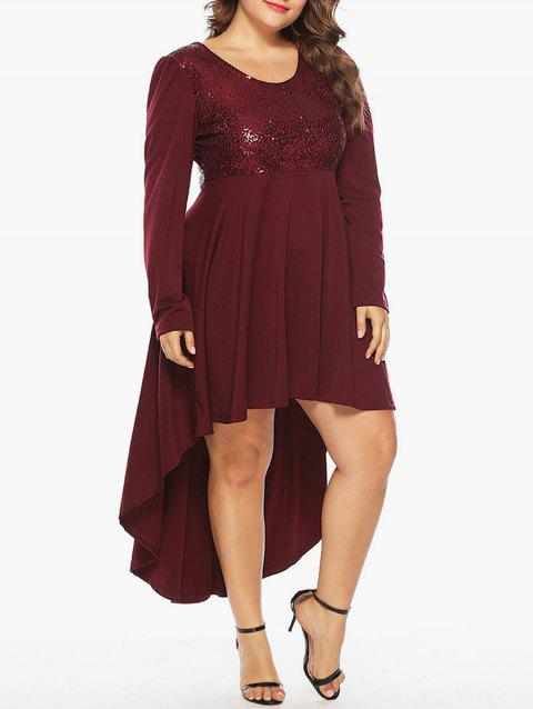 Plus Size Sequin Embellished High Low Party Dress - RED WINE 1X