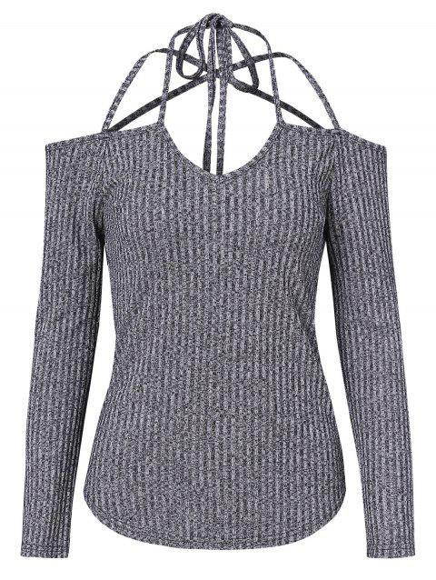 Off Shoulder Strappy Ribbed Knitwear - GRAY M