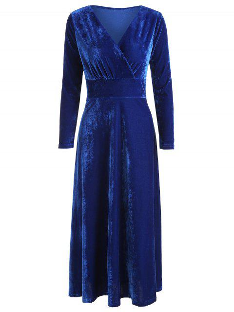 Long Sleeve Solid Wrap Dress - COBALT BLUE L