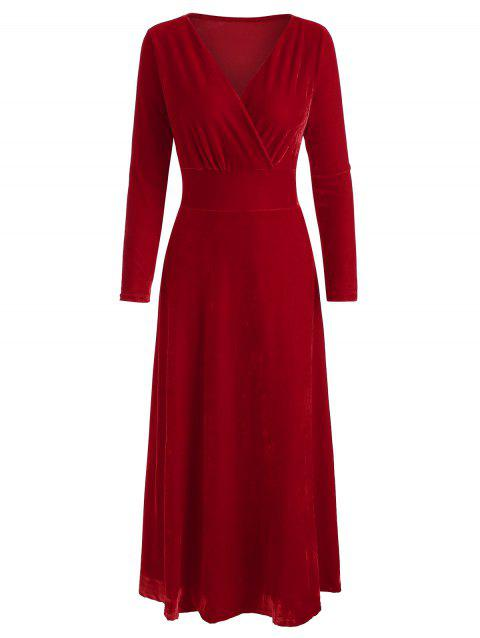 Long Sleeve Solid Wrap Dress - RED L