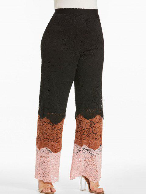 Plus Size Color Block Lace Pants - BLACK 2X