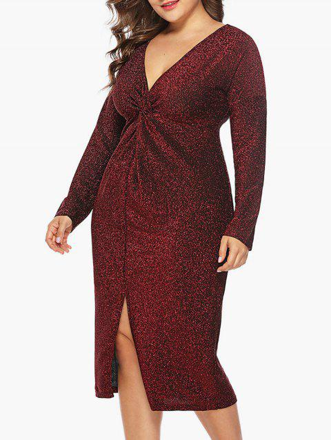 Twist Front Plus Size Slit Bodycon Dress - RED WINE L