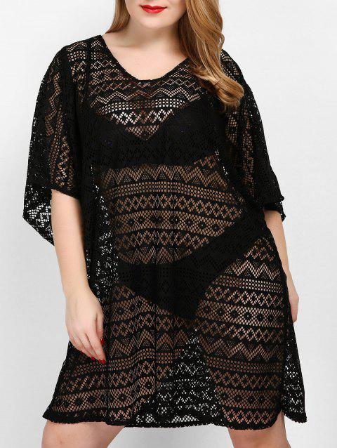 Plus Size See Through Openwork Cover Up - BLACK 3X