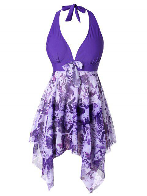 Plus Size Halter Printed Handkerchief Tankini Set - PURPLE 4X