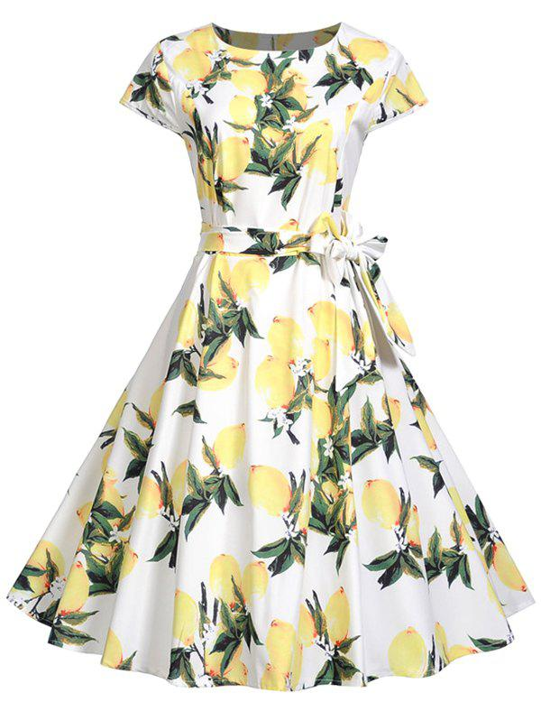 Vintage Peach Print Fit and Flare Dress - CREAM S