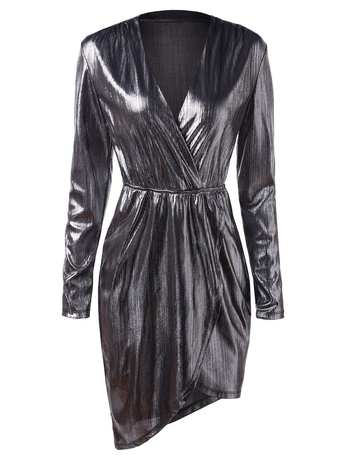 Plunging Neck Long Sleeves Metallic Party Dress - SILVER XL