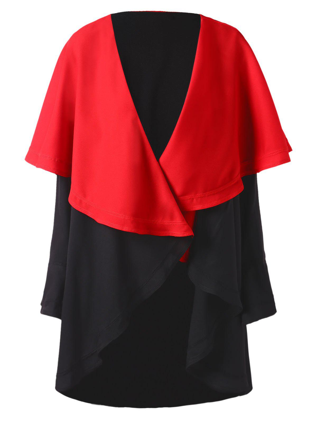 Two Tone Open Front Capelet Coat